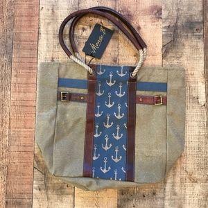 Mona B Canvas Leather Tote Bag NWT Tan Anchor Blue